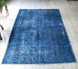 リサイクルラグ(オールドカーペット)・オーバーダイド224x144cmブルー/カリヨラサイズ Orver Dyed Vintage Rug, Blue