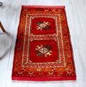 トルコ絨毯・アナトリアのオールドカーペット・エリアラグ/ヤストゥク97×55cmコンヤ/レッド&オレンジHandNottedAnatolianCarpetVintage