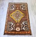 オールドカーペット・ヤストゥクトルコ手織り絨毯95×52cmシワス地方のふっくらした織り・ブラウン系