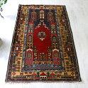 オールドカーペット・Kayseriカイセリ・ヤヒヤル・トルコ手織り絨毯/チェイレキ2本のミナレットと赤いミフラープ/レッド&ネイビー・イエローのボーダー