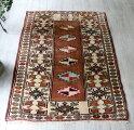オールドカーペット・Milasミラス・トルコ手織り絨毯/チェイレキブラウン&ビビットピンク・オレンジ・エメラルドグリーン