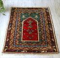 トルコ絨毯・手織りウールラグ/チェイレキサイズ143×101cmコンヤ・赤いミフラープ四重のボーダー
