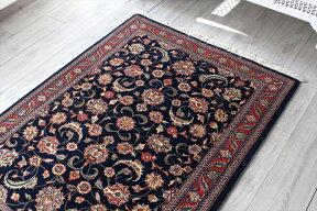 エリアラグ・ペルシャ絨毯/センターラグ145×107cmジョザンパルメット/ネイビーブルー濃紺