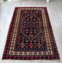 トライバルラグ・ヤージベディル/オールドカーペット・ベルガマ204×114cm手織り絨毯セッヂャーデ深いネイビーとレッド