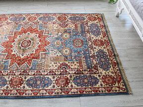 トルコ絨毯・マムルーク王朝のアンティークデザイン202×149cmセッヂャーデブルー/レッド