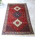 トライバルラグ・部族絨毯/イラン南部ヤラメYaramehセッジャーデ199×102cmリビングサイズ/ネイビー&ホワイト・3つのダイヤドラゴンの爪
