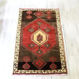 トルコじゅうたん・エリアラグ/オールドカーペット チェイレキ105×69cm赤のメダリオン・ブラウンのアブラッシュ
