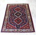トライバルラグ・部族絨毯ヤラメYarameh156×106cmネイビー/レッド・3つのダイヤドラゴンの爪