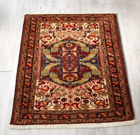 トライバルラグ・部族絨毯/オールドカーペット バルーチ92×78cm玄関マットサイズ アイボリー/孔雀のメダリオン