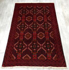 バルーチ族のトライバルラグ・部族絨毯188×100cm深い赤と黒のシックな色使い