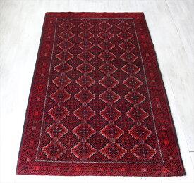 トライバルラグ・部族絨毯 バルーチ族オールドカーペット203×108cmバーガンディ/連なるギュル文様