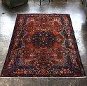 トライバルラグナハバンド部族絨毯リビングサイズ225×149cmNahavandrug深いレッド・トルコブルー