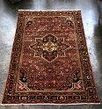 オールドカーペット・ハマダン部族絨毯リビングサイズ227×158cmHosseinabad花のようなモチーフ