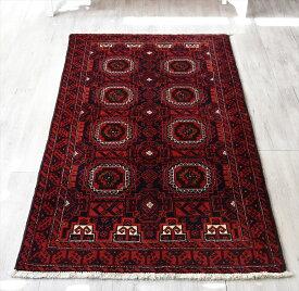 トライバルラグ・部族絨毯 バルーチ センターラグサイズ190×102cm バーガンディ/連なるギュル文様