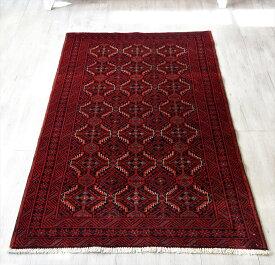 トライバルラグ・部族絨毯 バルーチ センターラグサイズ182×102cm バーガンディ/連なるギュル文様