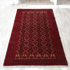 トライバルラグ・部族絨毯 バルーチ センターラグサイズ195×100cm バーガンディ/連なるギュル文様
