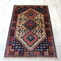 トライバルラグ・部族絨毯ヤラメYalameh124×80cm3つのダイヤドラゴンの爪アイボリー/ネイビー