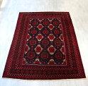 トライラバルラグ・バルーチ族の手織り絨毯267×191cm12のギュル文様深い赤と紺