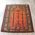 オールドカーペット・コンヤトルコ手織り絨毯144×107cm生命の樹が宿る赤いミフラープ
