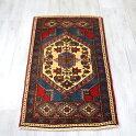 トルコ絨毯・クルシェヒールヤストゥク87×50cm淡い色合いの六角メダリオントライバルラグ/玄関マット