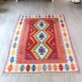 トルコキリム・手織りのウール100%カイセリキリム・カリヨラサイズ・235×138cmレンガ色/アイボリー 3つのジグザグひし型メダリオン キリム ラグ