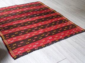 オールドキリム・シワス103×100cm赤と黒のボーダー