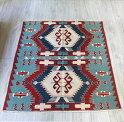トルコ・ウシャク地方の手織りキリム/チェイレキ158×122cm2つの六角メダリオン・レッド&ブルーグリーン