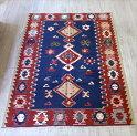 トルコ・ウシャク地方の手織りキリム/チェイレキ176×122cmネイビー&レッド3つの変形メダリオン