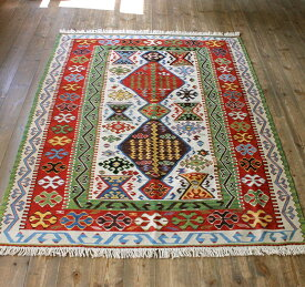 高級 キリム 草木染・トルコキリム/手の込んだ細かな織り173×122cmセッヂャーデ・2つのひし形メダリオン