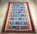 シラーズ・カシュカイ族の手織りキリム大きなルームサイズ・ブルーグリーン