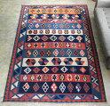シラーズ・カシュカイ族の手織りキリム大きなルームサイズ・カラフルなストライプ