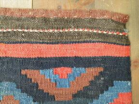 ロバの背中で使っていたサドルバッグ(ヘイベ・ホルジン)ミニキリム/赤と青/ギョズ・お守りのモチーフ