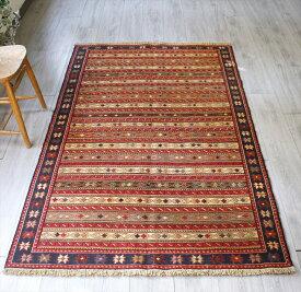 イラン手織りキリム・シルジャン地方のスマック/セッジャーデ195×123cm幾何学模様のボーダー