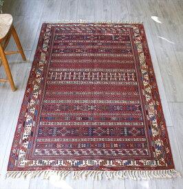 イラン手織りキリム・シルジャン地方のスマック/セッジャーデ165×101cm幾何学模様のボーダー