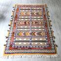 モロッコキリム・タピグラウイ凹凸のあるパイル織り172×98cm大型ルームサイズジグザグのボーダー