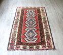 トルコ手織りキリム・アダナキリム・バフチェジック/ウール100%135×80cm3つのエリベリンデチェイレキ