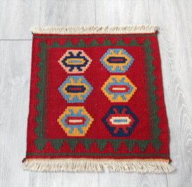 シラーズ・カシュカイ族の手織りキリム ミニキリム44×40cmダスタファリン