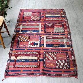 モロッコキリム・タピグラウイ凹凸のあるパイル織りセンターラグボルドー&ネイビー