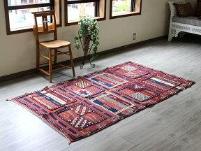 高級キリムモロッコキリム・タピグラウイ凹凸のあるパイル織りセンターラグボルドー&ネイビー