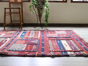 モロッコキリム・タピグラウイ凹凸のあるパイル織り202×115cmセンターラグボルドー&ネイビー