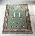 グチャンキリム東イラン(グチャン)手織り/ヤストゥク92×67cm淡いエメラルドグリーン・動物のモチーフ