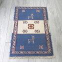 グチャンキリム東イラン(グチャン)手織り/ヤストゥク84×51cmブルー・アイボリー動物のモチーフ