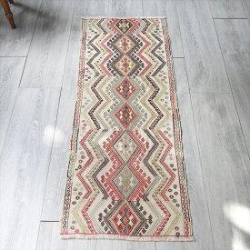 オールドキリム・シワスジジム フラグメント123×43cmナチュラルアイボリー細かな織りのひし形