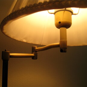 北欧風・アンティーク調・スイングアーム布シェード・テーブルスタンドライト・スタンド照明(ホワイト)調光器付60W店舗照明・エスニック・BOHO・輸入照明