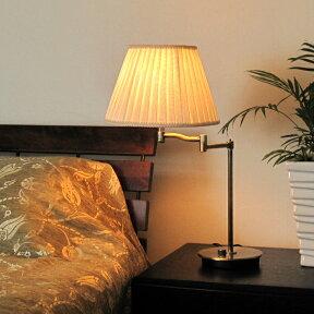 スイングアーム布シェードテーブルランプ(ホワイト)調光器付60W