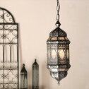 ガラスペンダントライト・・モロッコランプアラビア風8面のレリーフガラスMoroccoLantern/25W1灯ペンダントランプ1灯