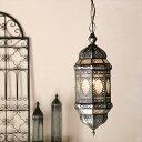 ガラスペンダントライト・モロッコランプ アラビア風8面のレリーフガラス Morocco Lantern/ 25W1灯 ペンダントランプ1灯