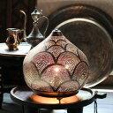 モロッコ メタルシェード・スタンドランプ/Moroccan Metal shade Lamps Φ30cm/Sogan シルバー色/レインボー