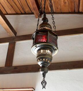 オットマンランプ・パシャ/ヘキサゴナルパープルS灯具セット・白熱電球付き