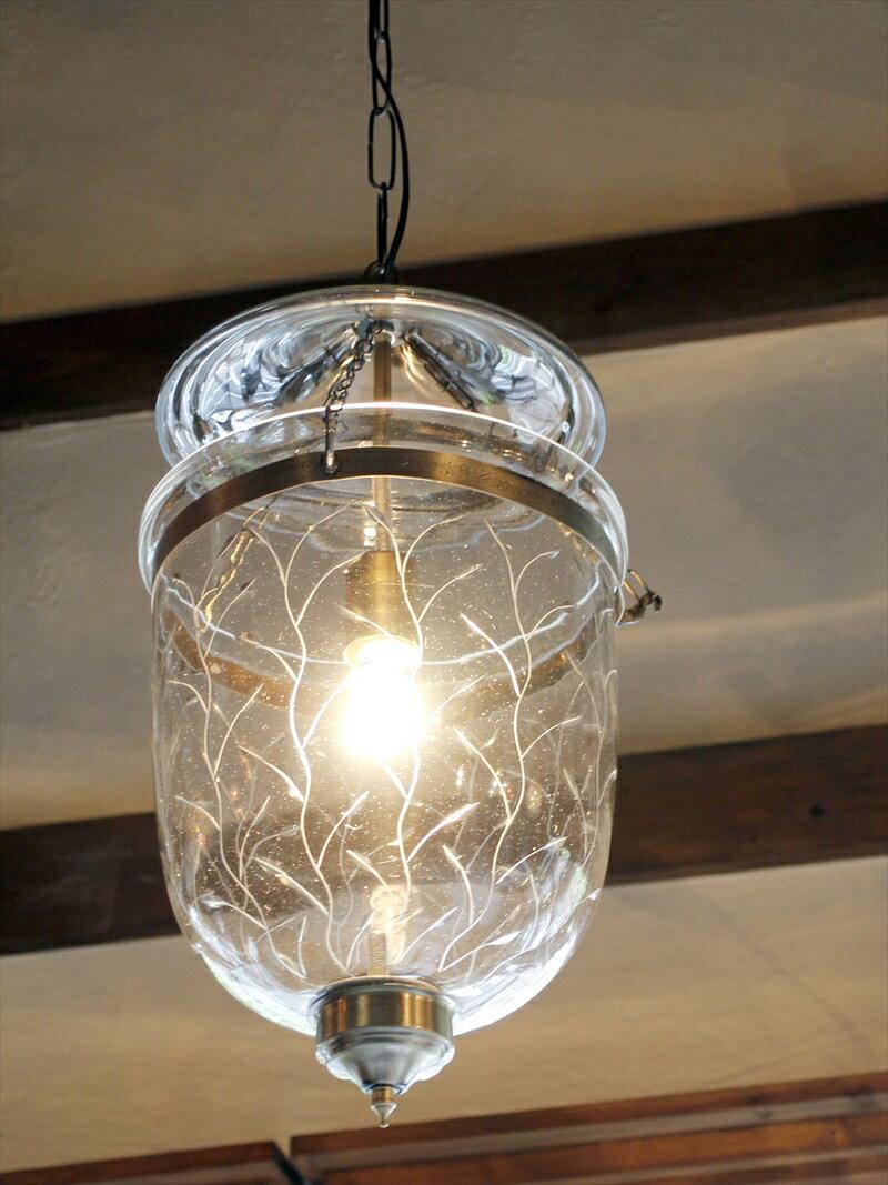 ガラスペンダントランプ/ベルジャーランタン・コロニアルスタイルリーフ British colonial Bell jar lanterns, Hindi Lamp E17/25W ミニクリプトン球付属